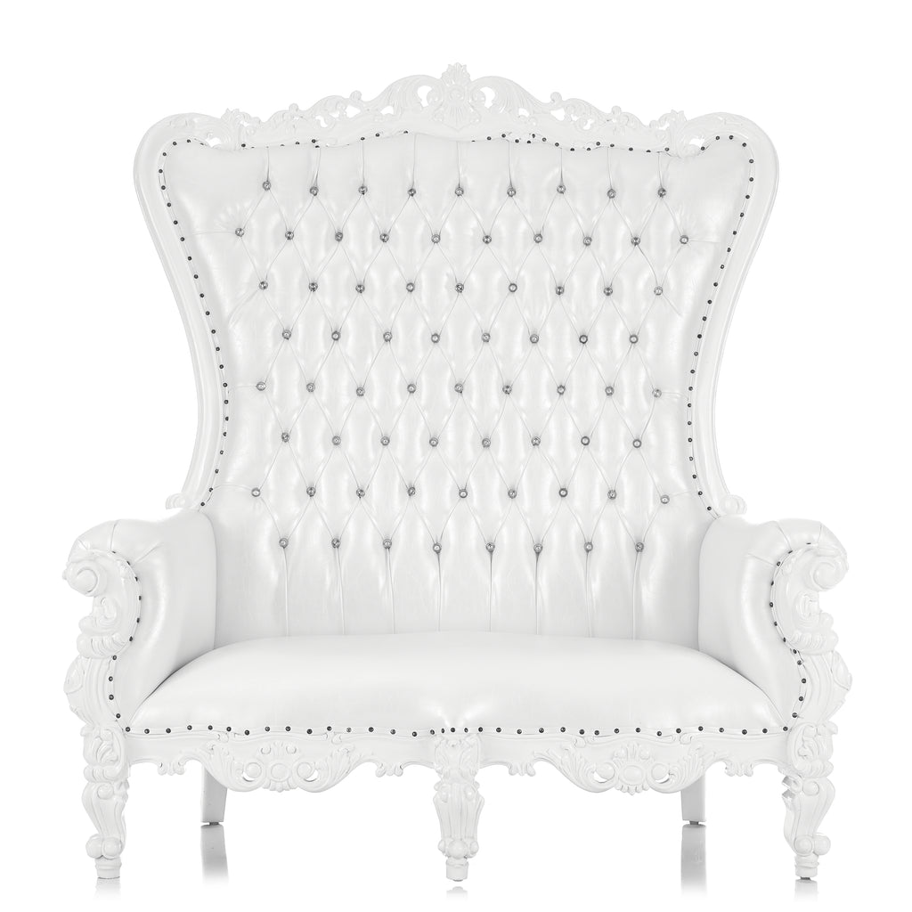 """Queen Tiffany"" Love Seat Throne Chair - White / White"