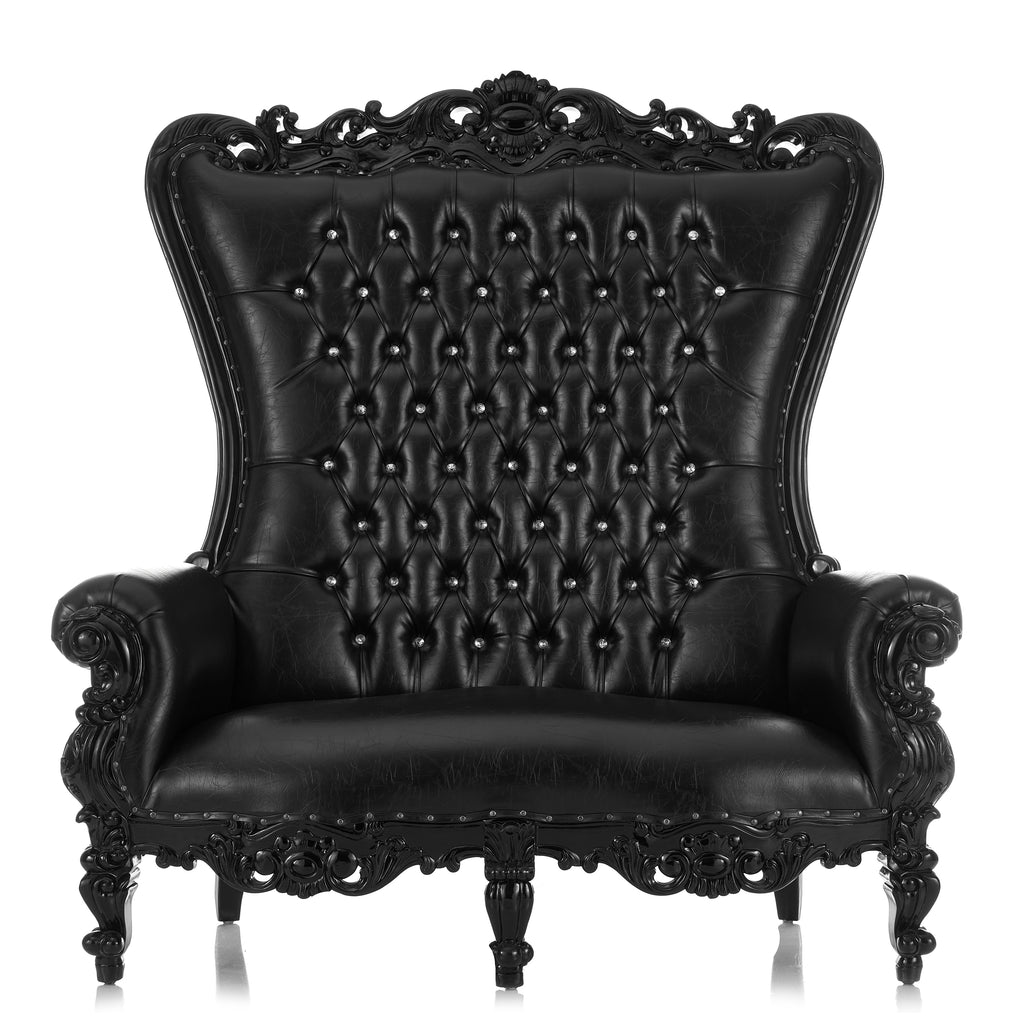 """Queen Tiffany"" Love Seat Throne - Black / Black"