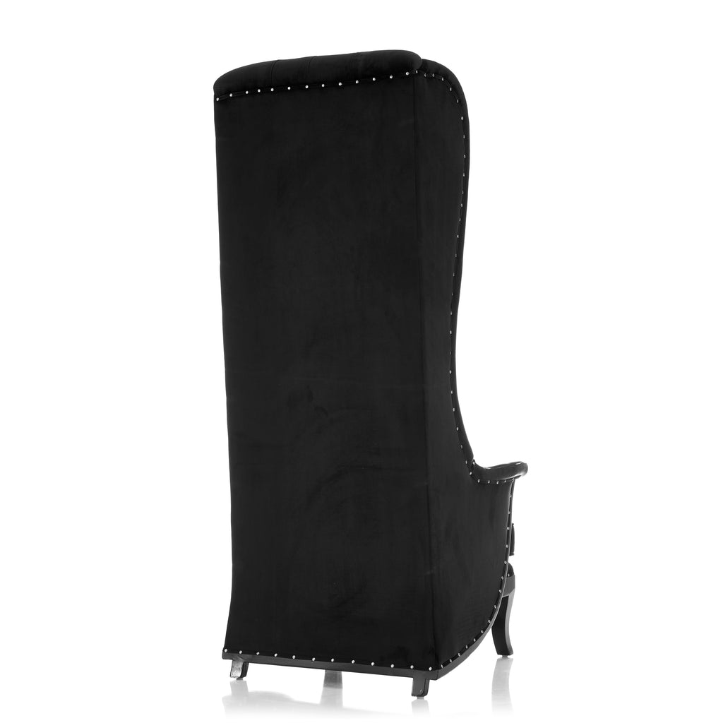 """Wing Back"" Throne Chair - Black / Black"