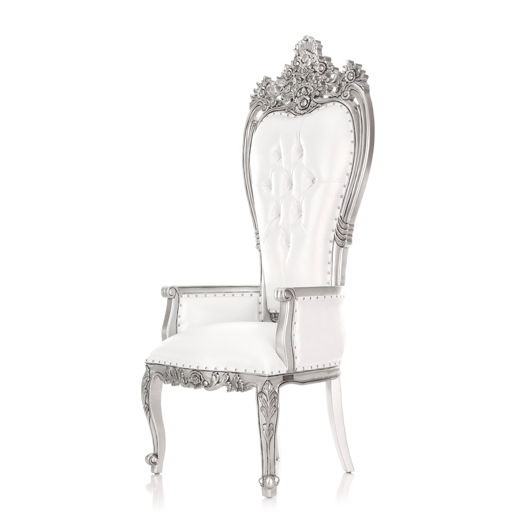 """Giovanni"" Party Throne Chair - White / Silver"