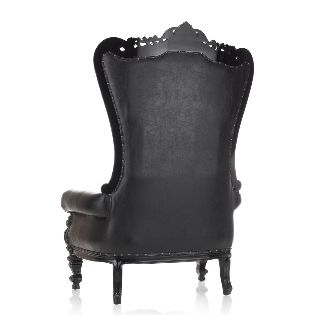 """Queen Tiffany""  Extra Wide Throne Chair - Black / Black"