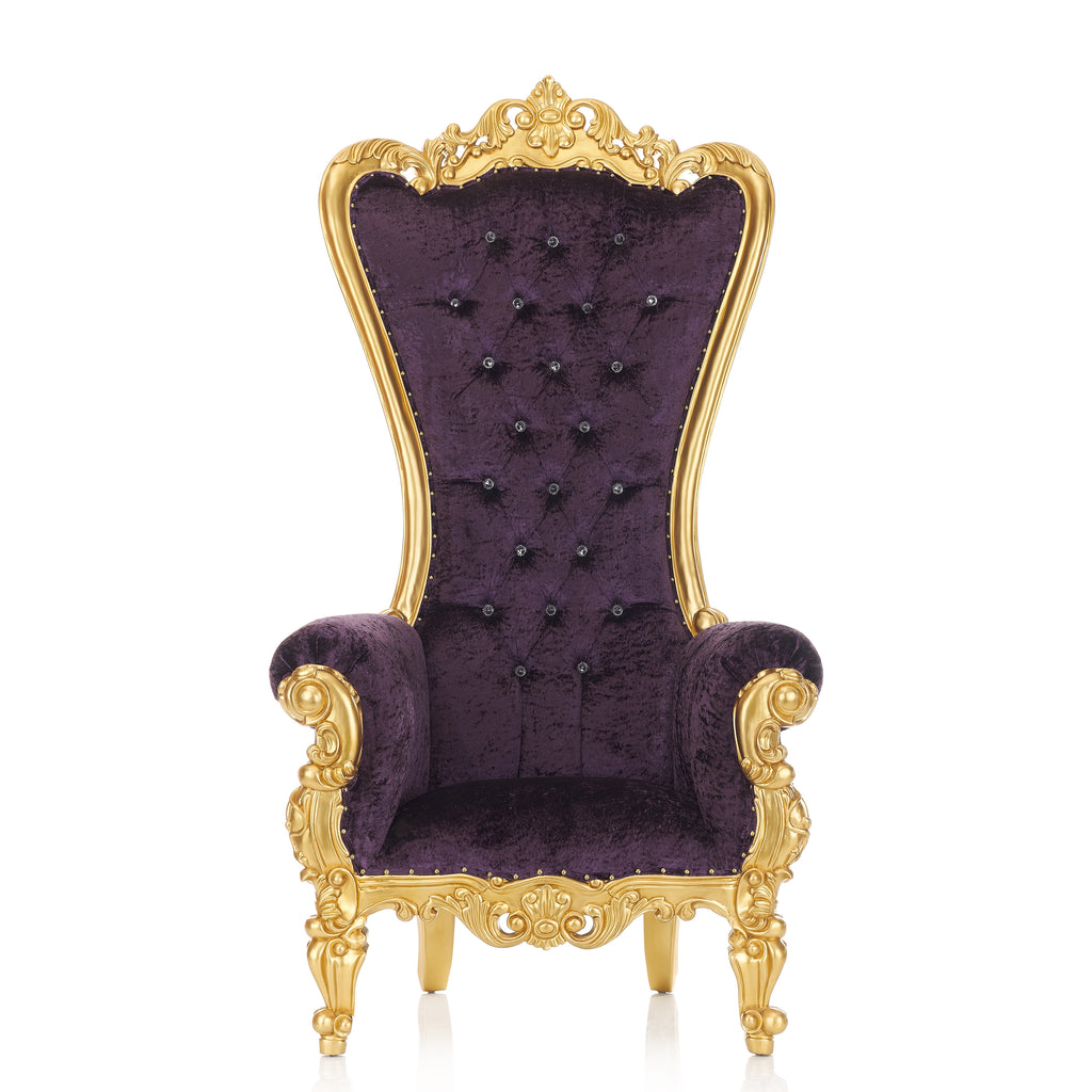 """Queen Tiffany"" Throne Chair - Purple Crushed Velvet / Gold"