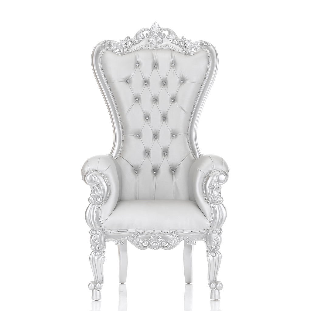 """Queen Tiffany"" XL Throne Chair - Silver / Silver"