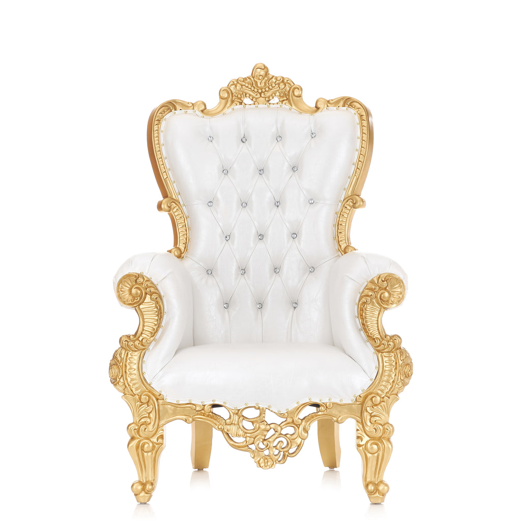 """Queen Sonia"" Throne Chair 60"" - White / Gold"