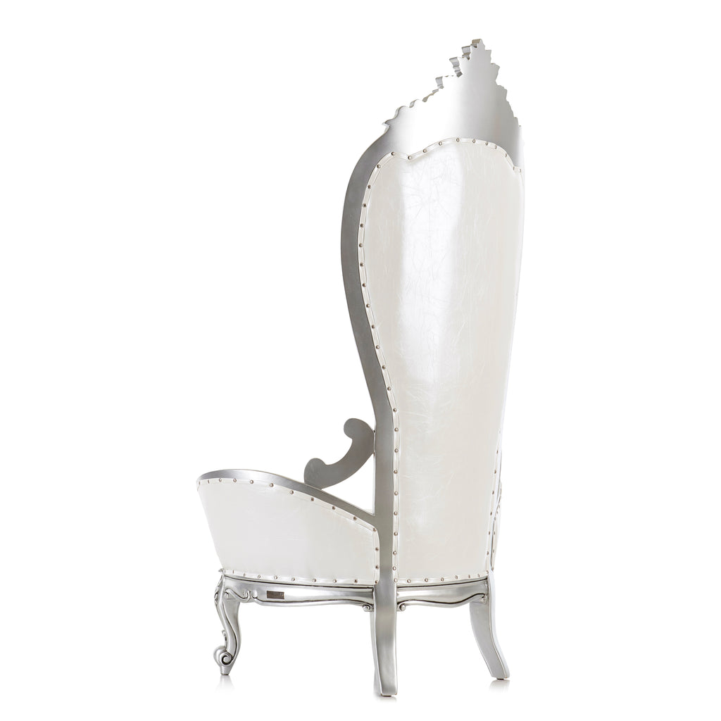 """Queen Shelby"" Throne Chair - White / Silver"