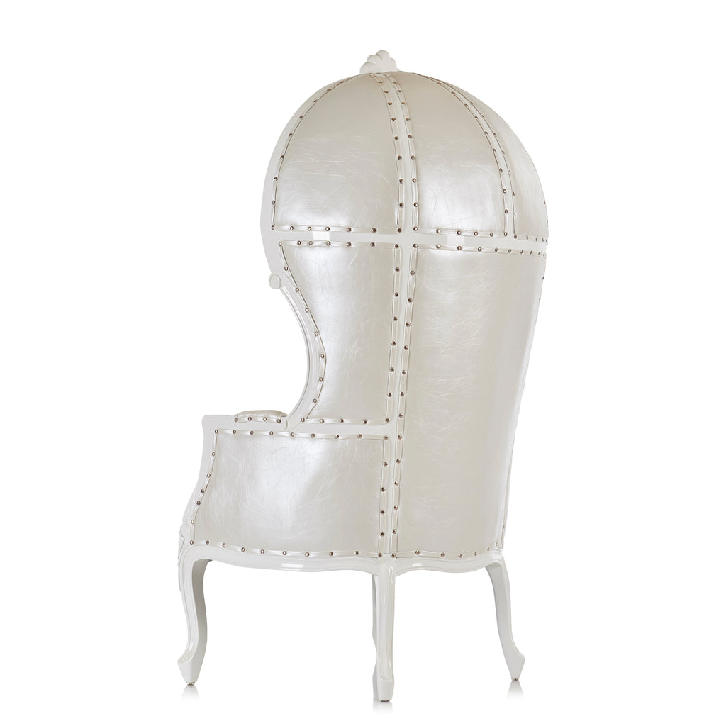"""Hooded Canopy"" Bridal Throne Chair - White / White"