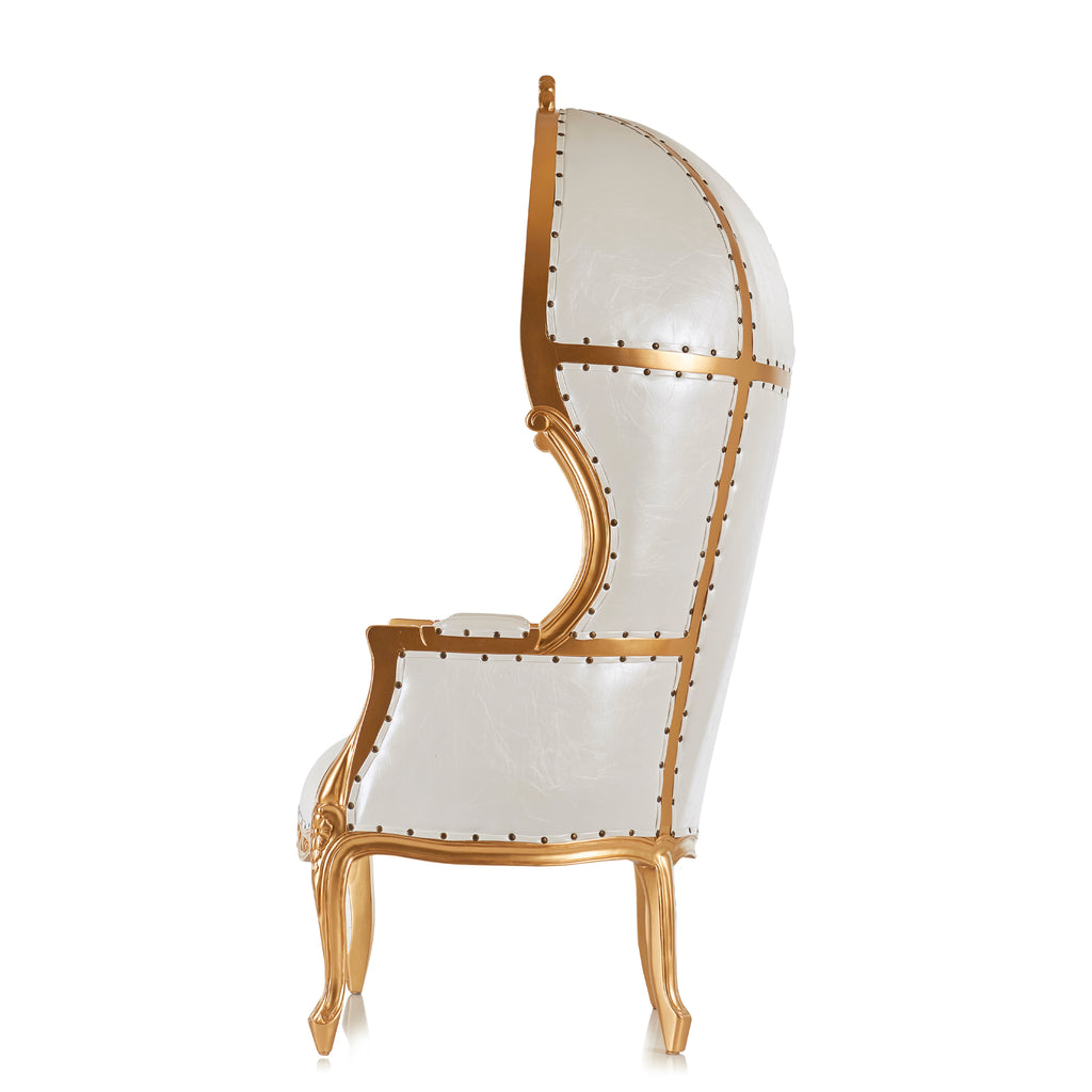 """Hooded Canopy"" Bridal Throne Chair - White / Gold"