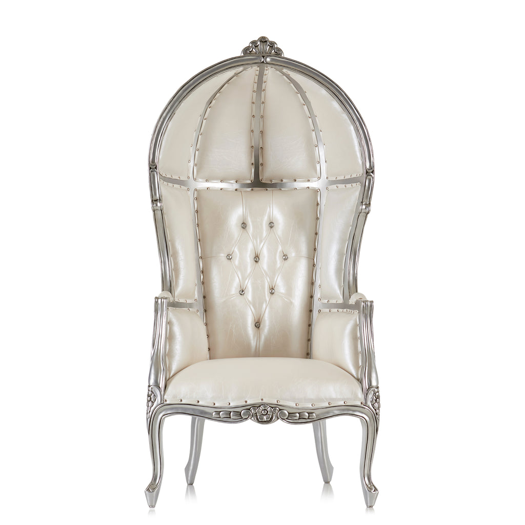 """Hooded Canopy"" Bridal Throne Chair - White / Silver"