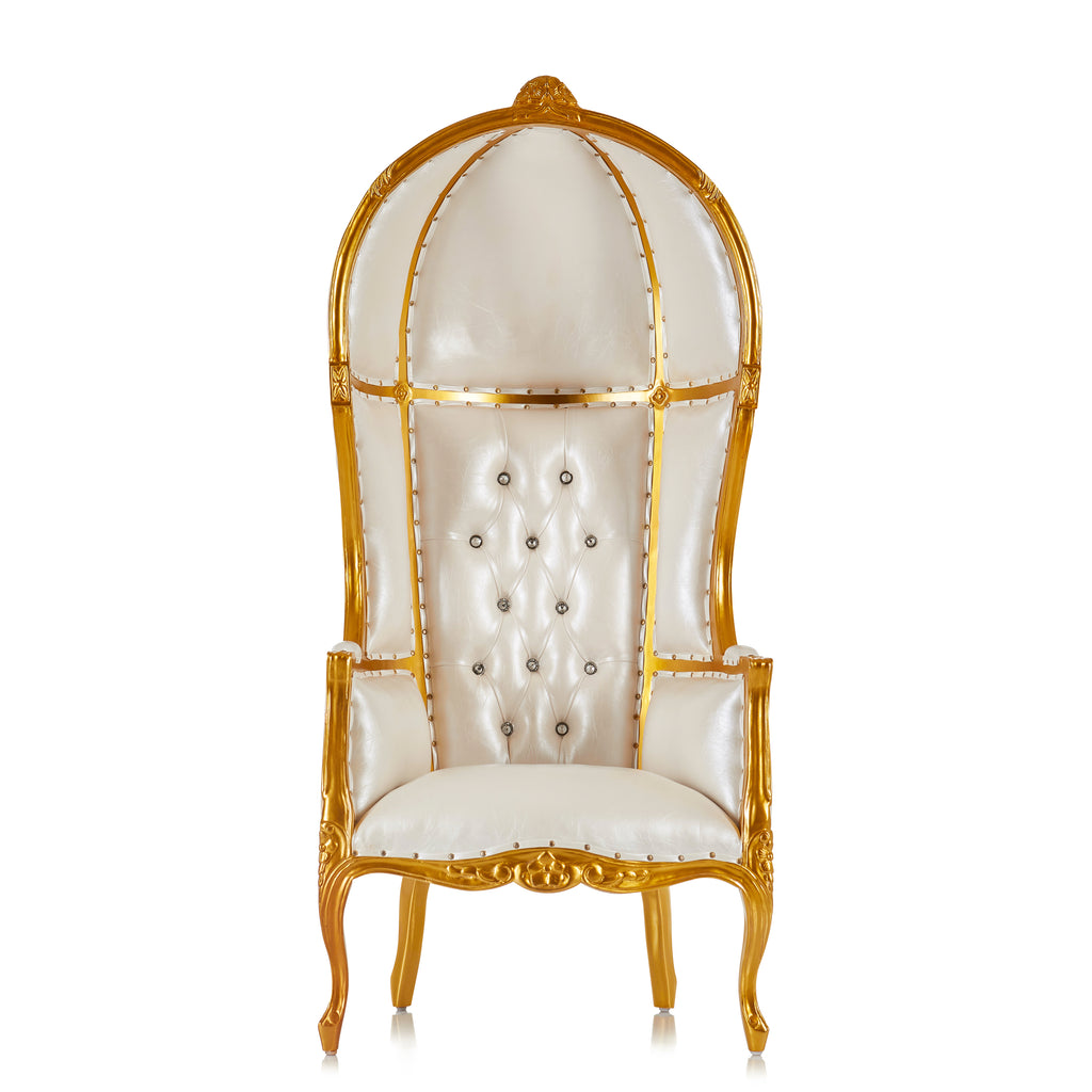 """Hooded Canopy 72"" Bridal Throne Chair - White / Gold"