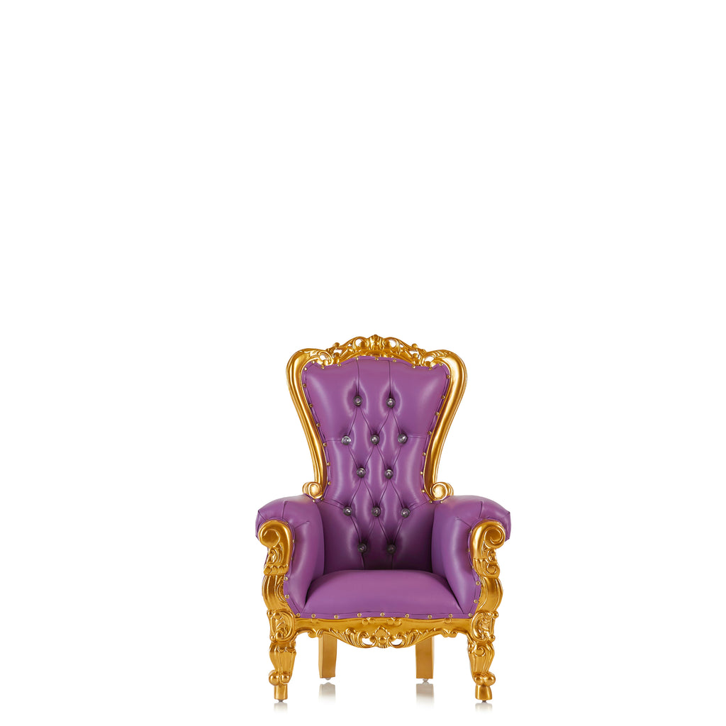 """Mini Tiffany"" Kids Throne Chair - Purple / Gold"