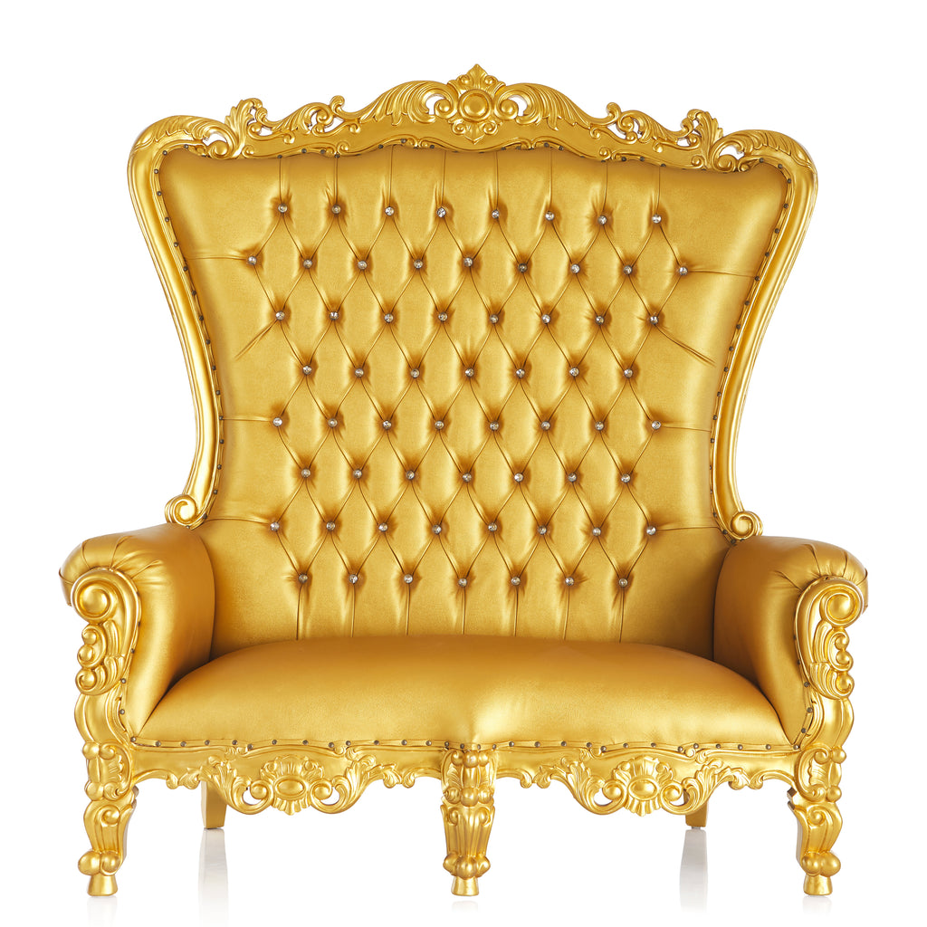 """Queen Tiffany"" Love Seat Throne Chair - Gold / Gold"