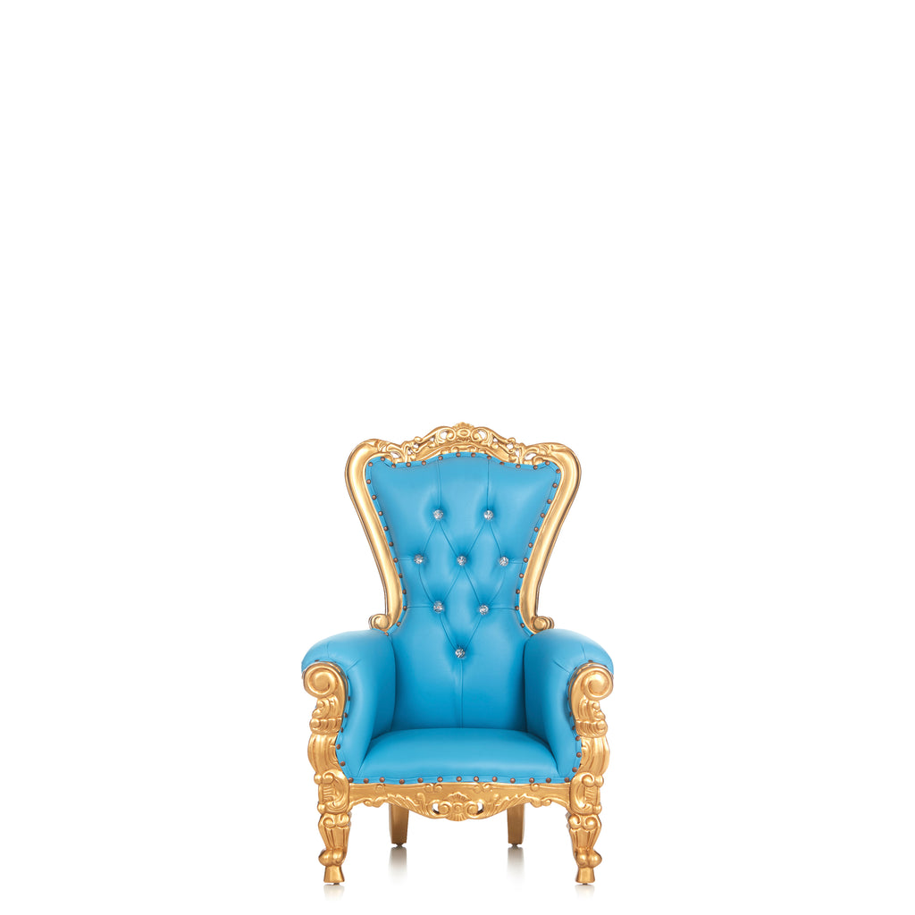 """Mini Tiffany"" Kids Throne Chair - Light Blue / Gold"