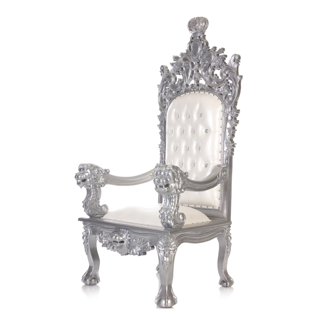 """Helena"" Queen Royal Throne Chair  - White / Silver"