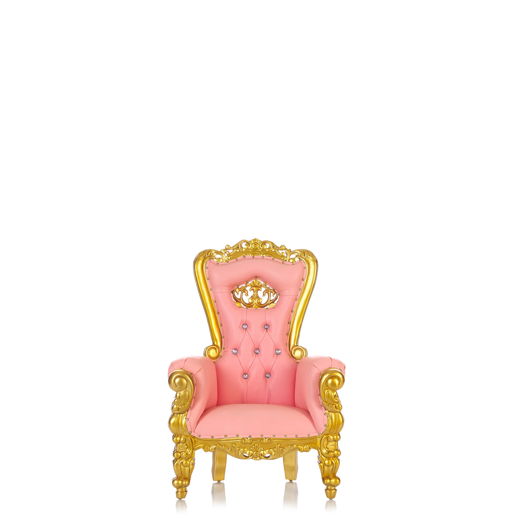 """Mini Crown Tiffany "" Kids Throne - Baby Pink / Gold"