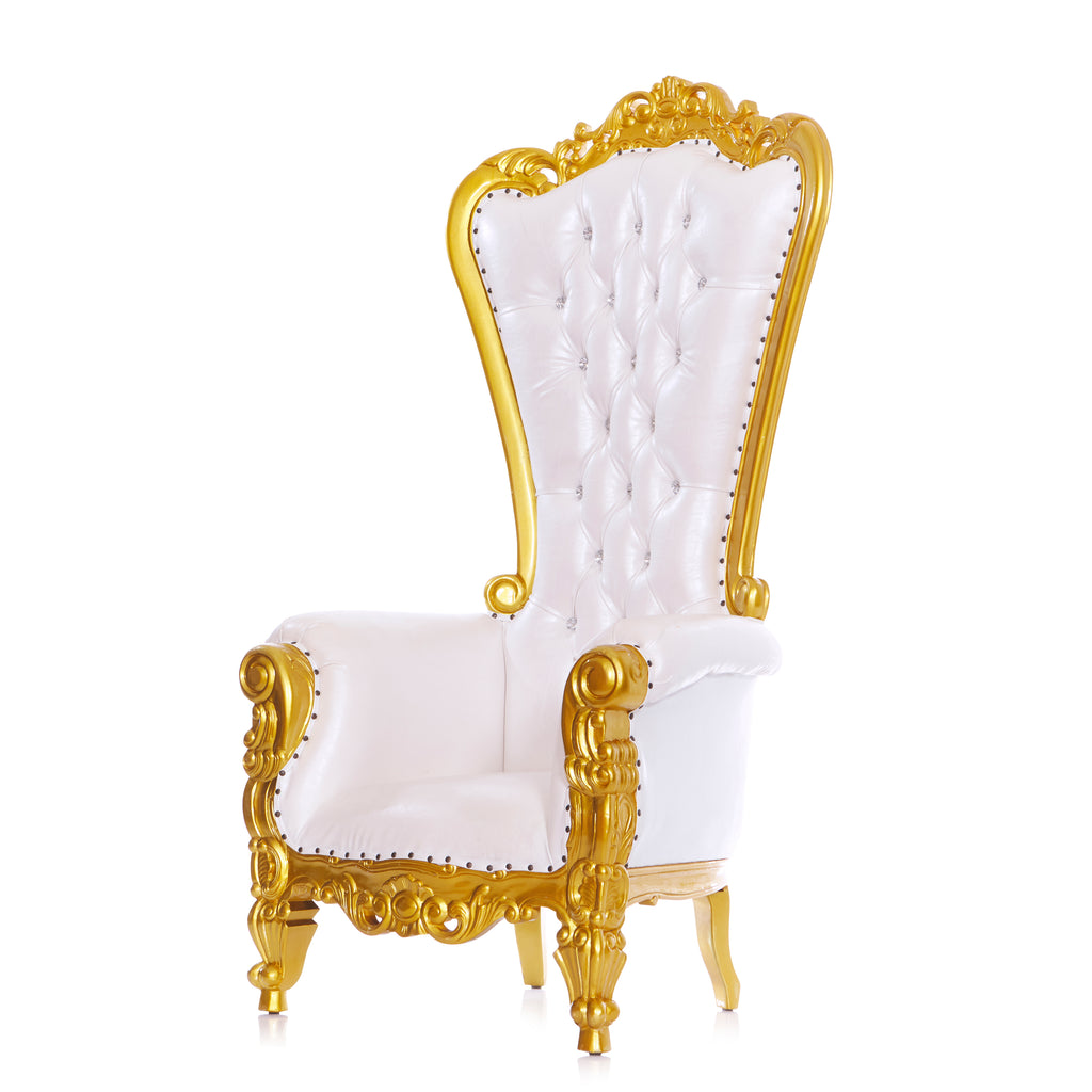 """Queen Tiffany"" Throne Chair - White / Gold"