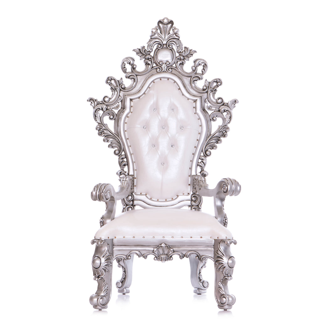 """King Darius"" Royal Throne Chair - White / Silver"