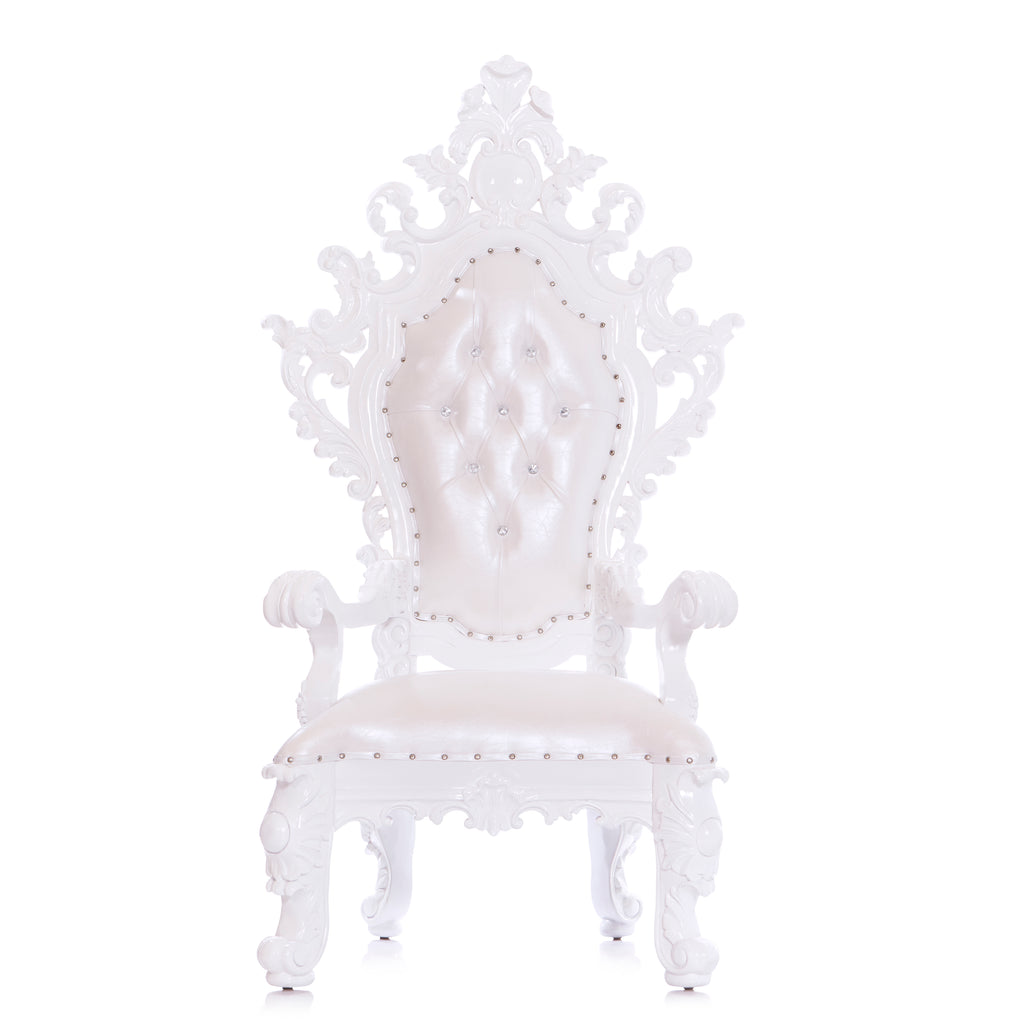 """King Darius"" Royal Throne Chair - White / White"