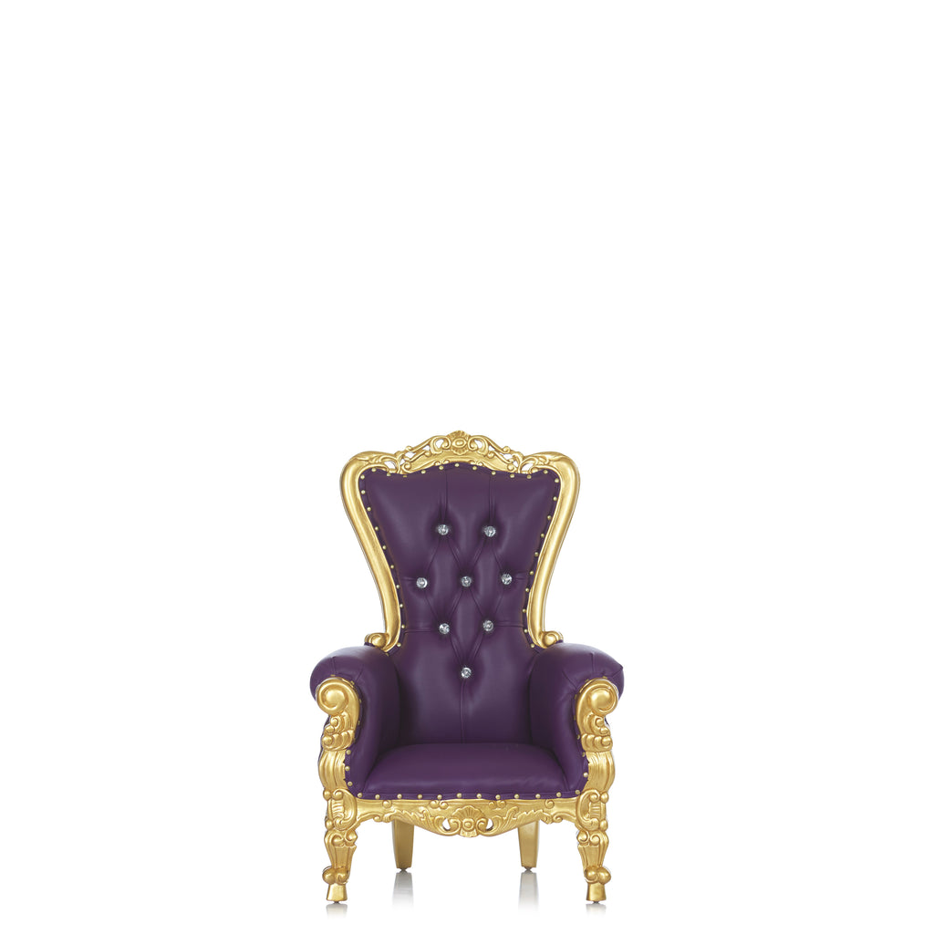 """Mini Tiffany"" Kids Throne Chair - Dark Purple / Gold"