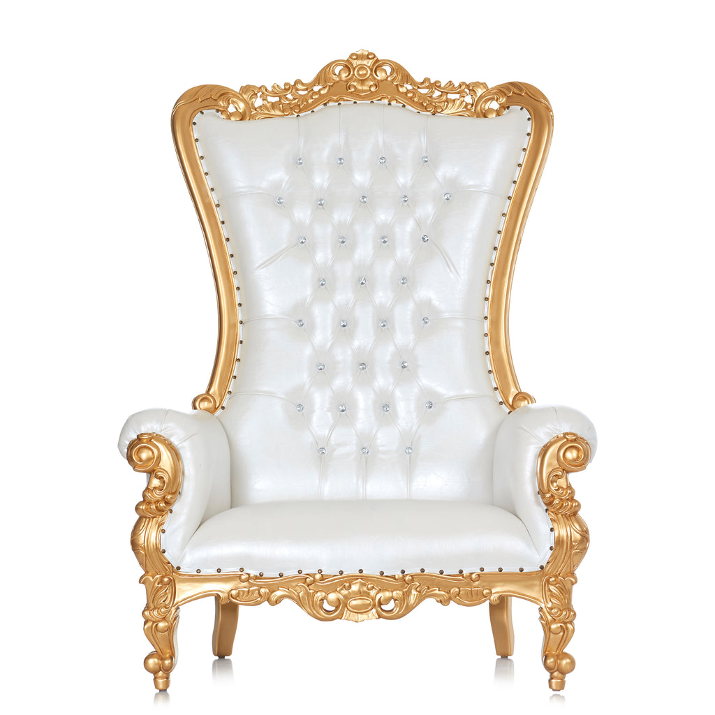 """Queen Tiffany"" Extra Wide Throne Chair - White / Gold"