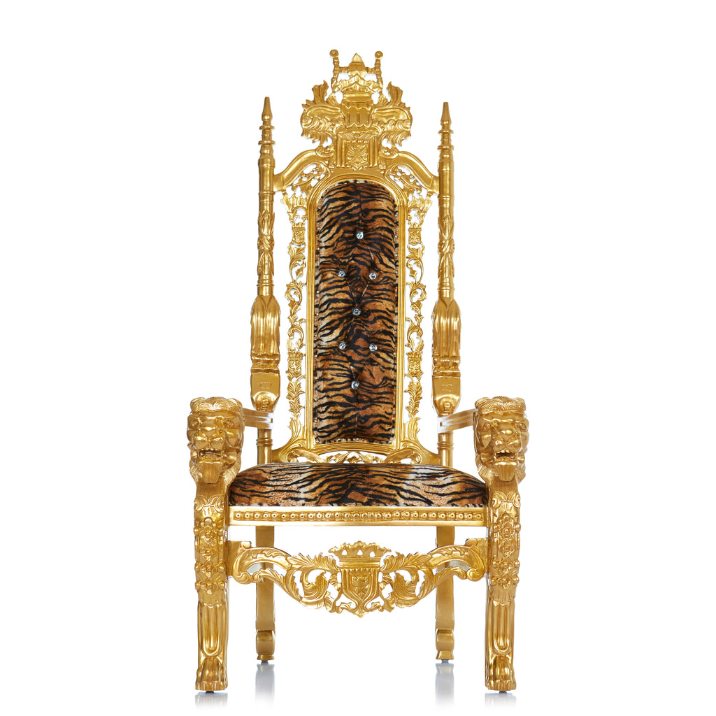 """King David"" Lion Throne Chair - Tiger Print / Gold"