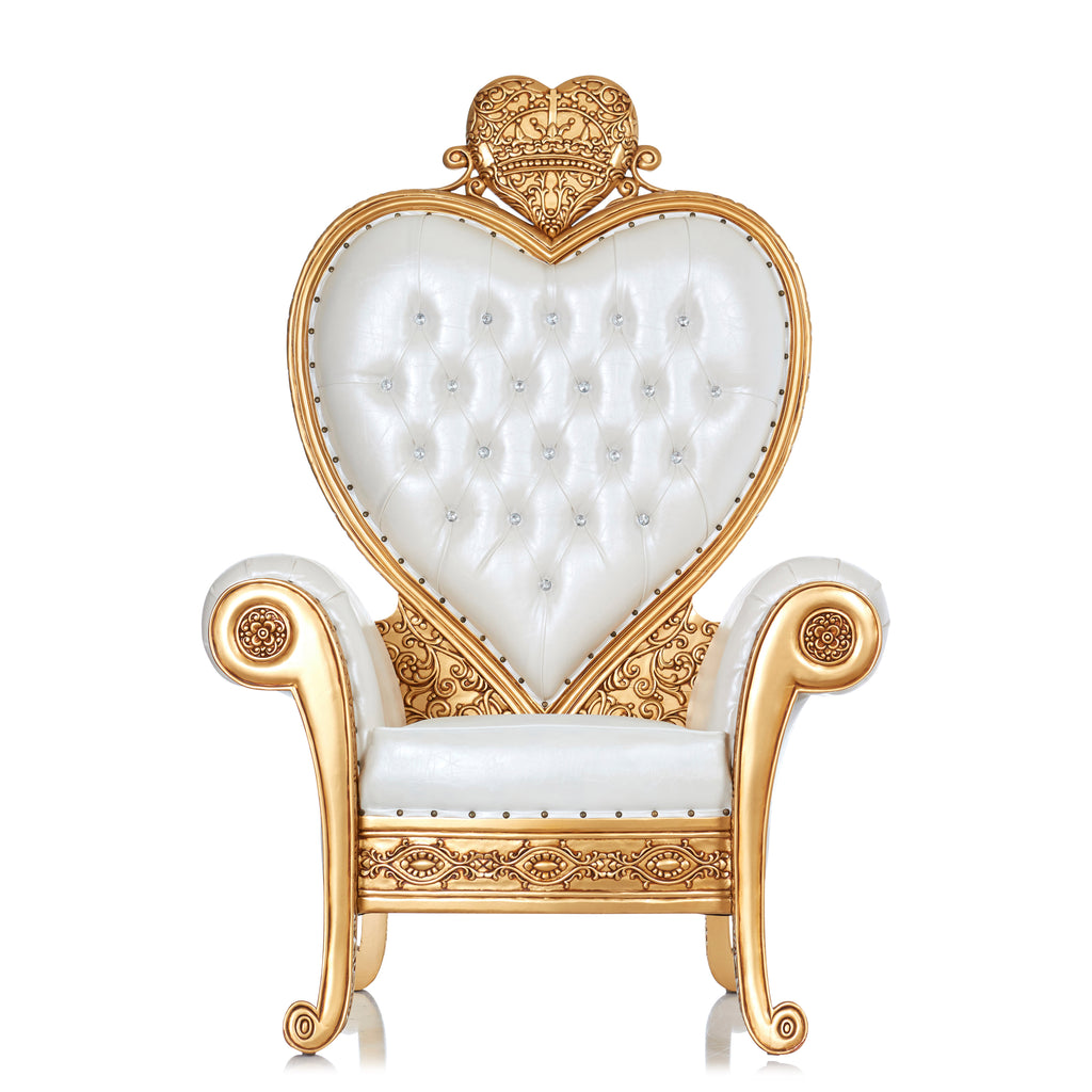 """Royal Valentine"" Party Throne Chair - White / Gold"