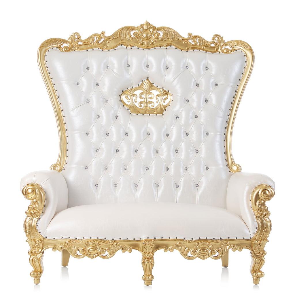 """Single Crown Tiffany"" Love Seat Throne Chair - White / Gold"