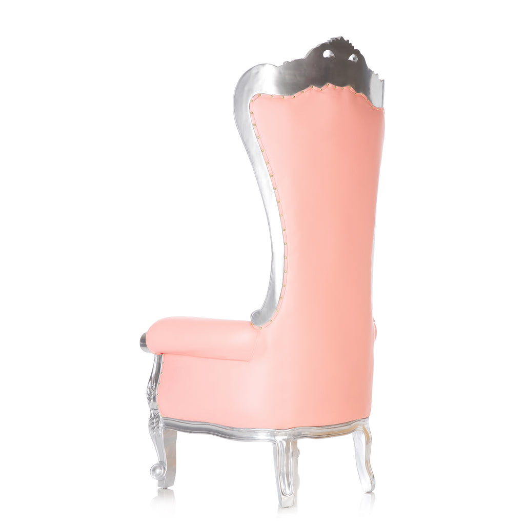 """Queen Tiffany 2.0"" Throne Chair - Pink / Silver"