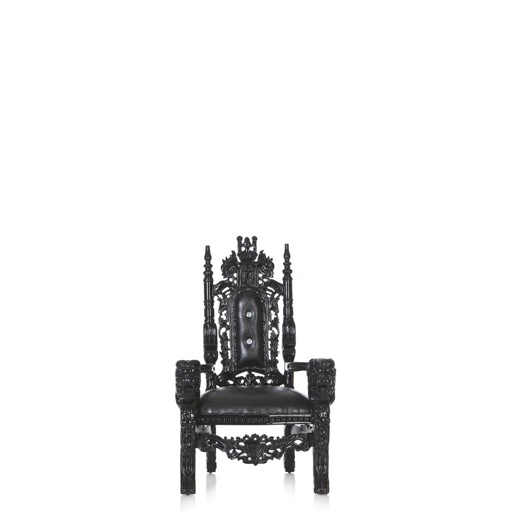 """Mini King David"" Lion Throne Chair - Black / Black"