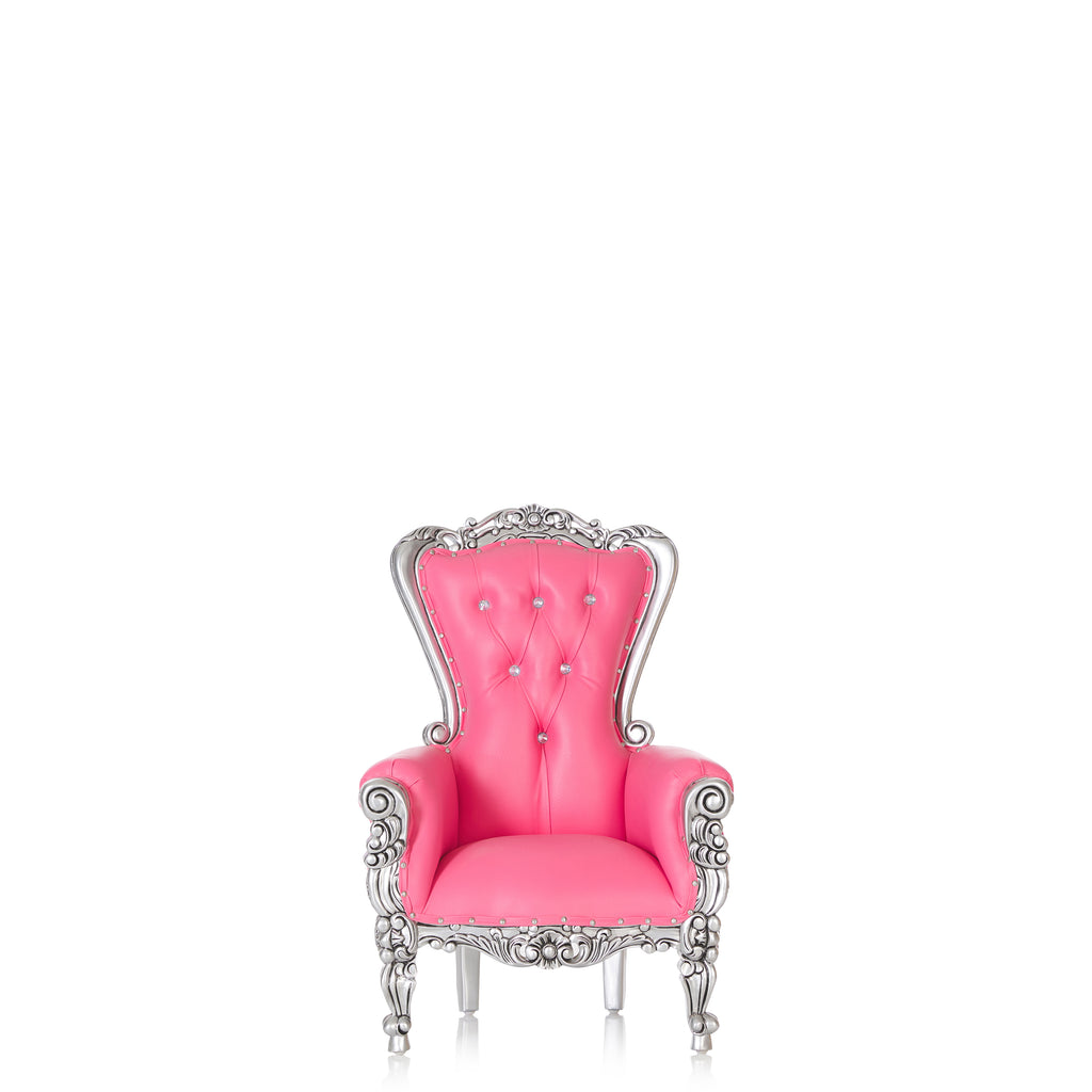 """Mini Tiffany"" Kids Throne Chair - Pink / Silver"