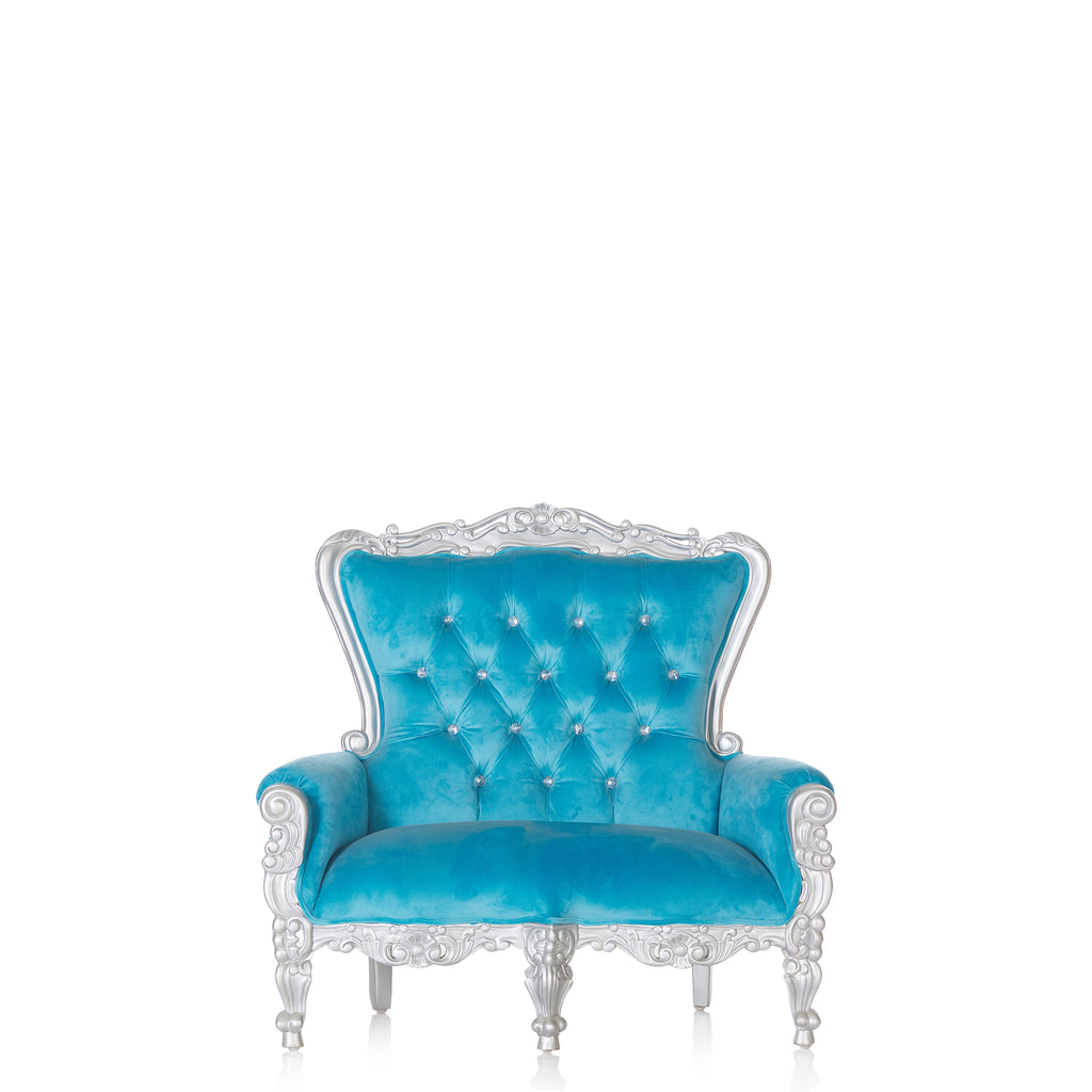 """Mini Tiffany"" Kids Love Seat Throne - Blue / Silver"
