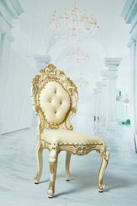"""Royal Adelina"" Dining Throne Chair - Beige / Gold"