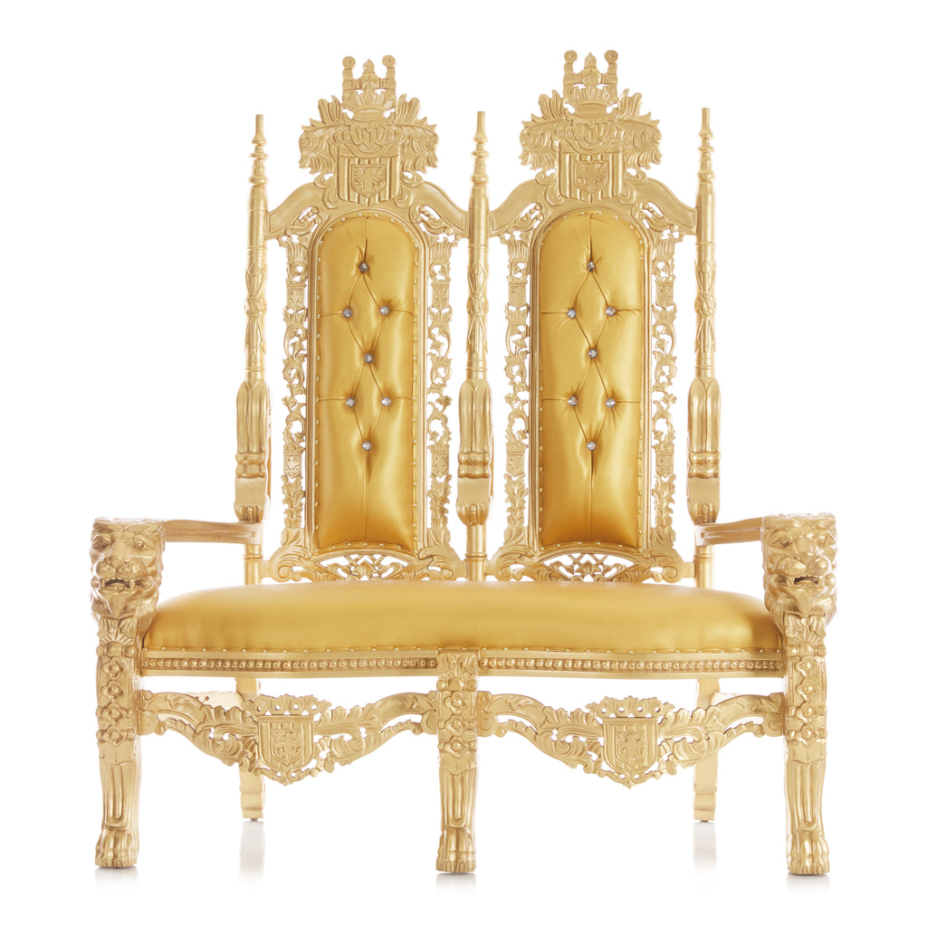 """King David"" Lion Throne Love Seat - Gold / Gold"