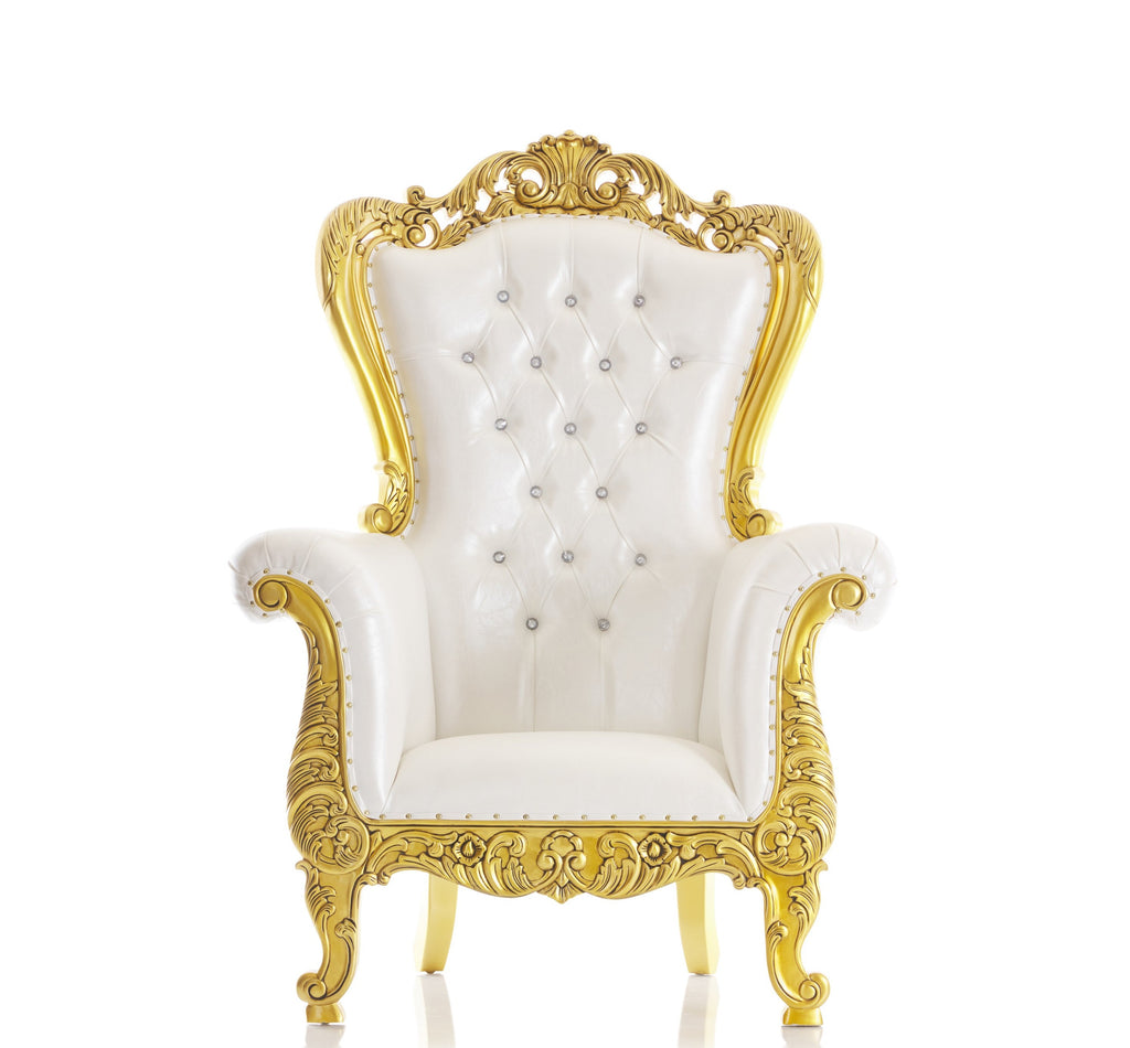 """Elisa"" Mid-Size Throne Chair - White / Gold"