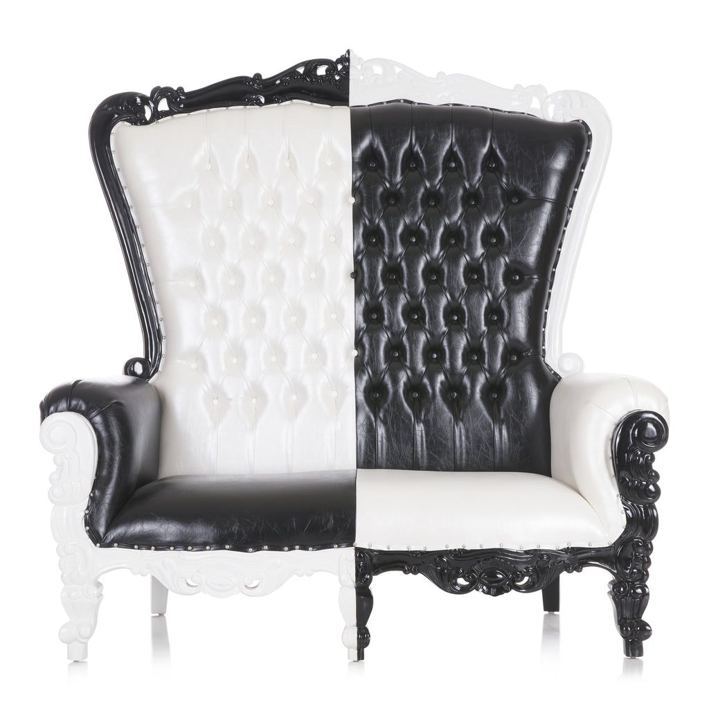 """Queen Tiffany"" Love Seat Throne Chair - Black / White"