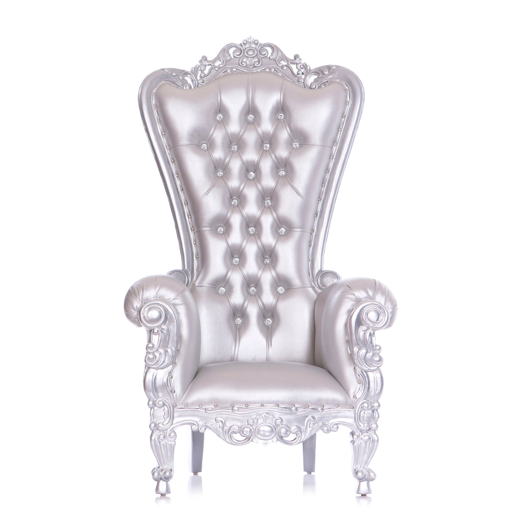 """Queen Tiffany"" Throne Chair - Silver / Silver"