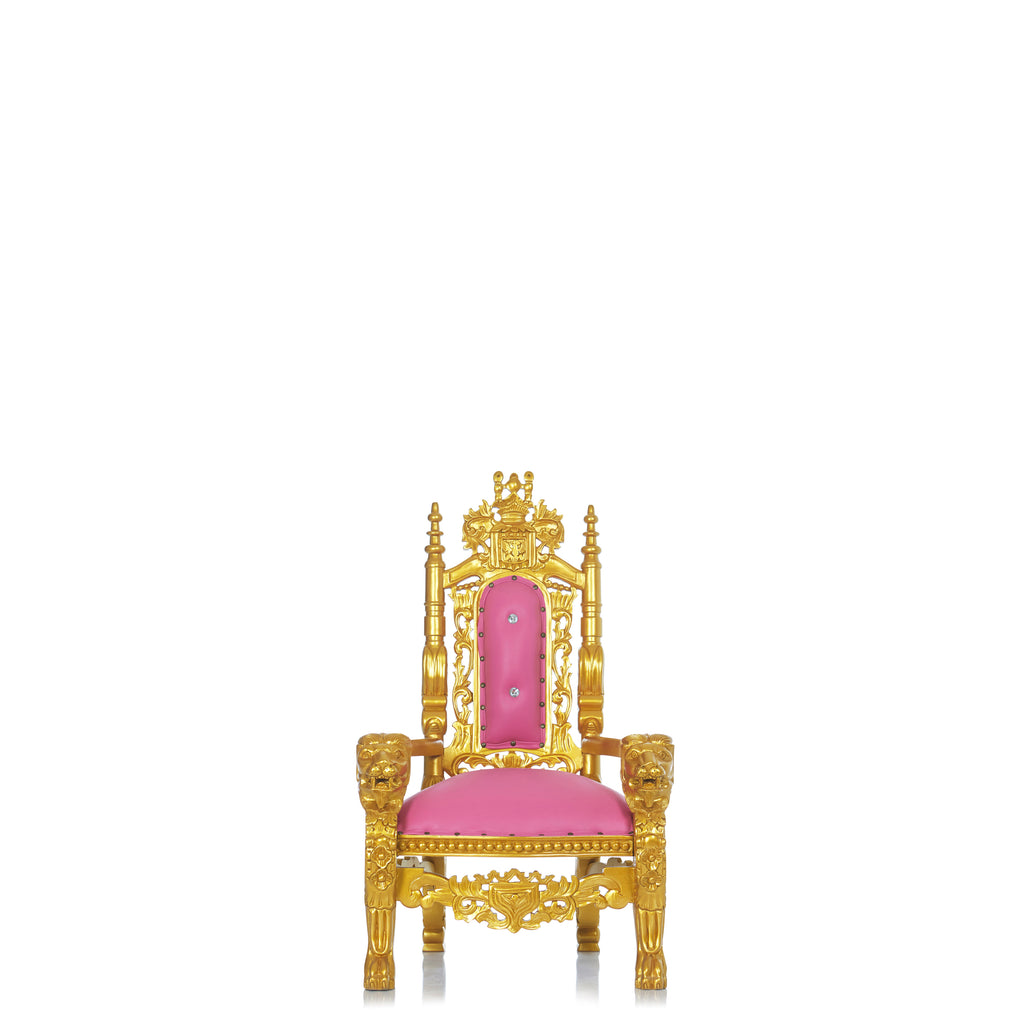 """Mini King David"" Lion Throne Chair - Pink / Gold"