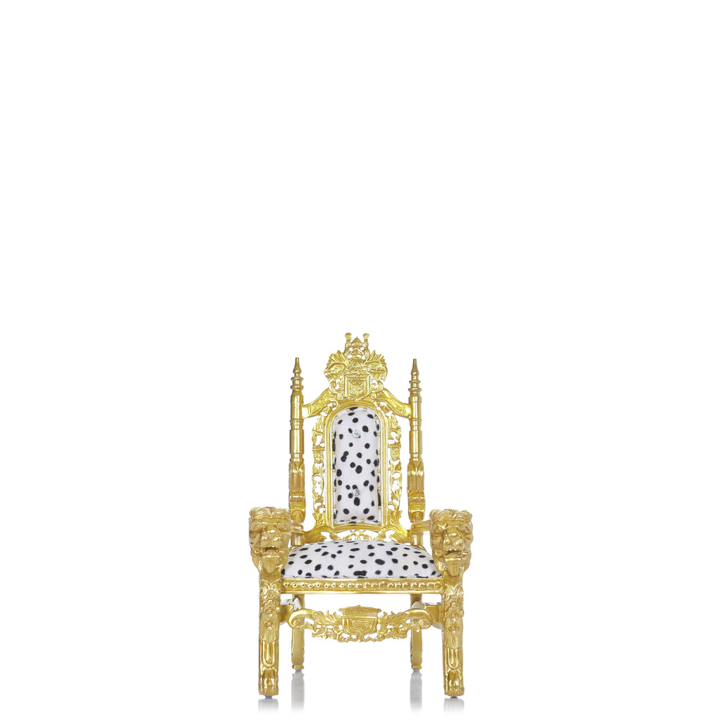 """Mini King David"" Lion Throne Chair - Dalmatian Print / Gold"