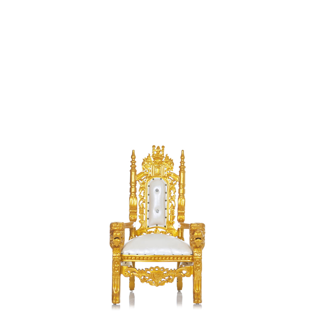 """Mini King David"" Lion Throne Chair - White / Gold"