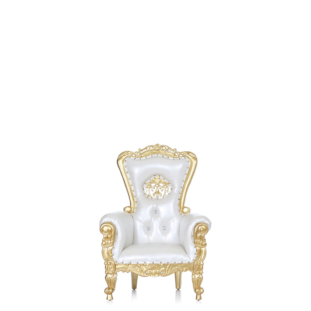 """Mini Crown Tiffany "" Kids Throne - White / Gold"