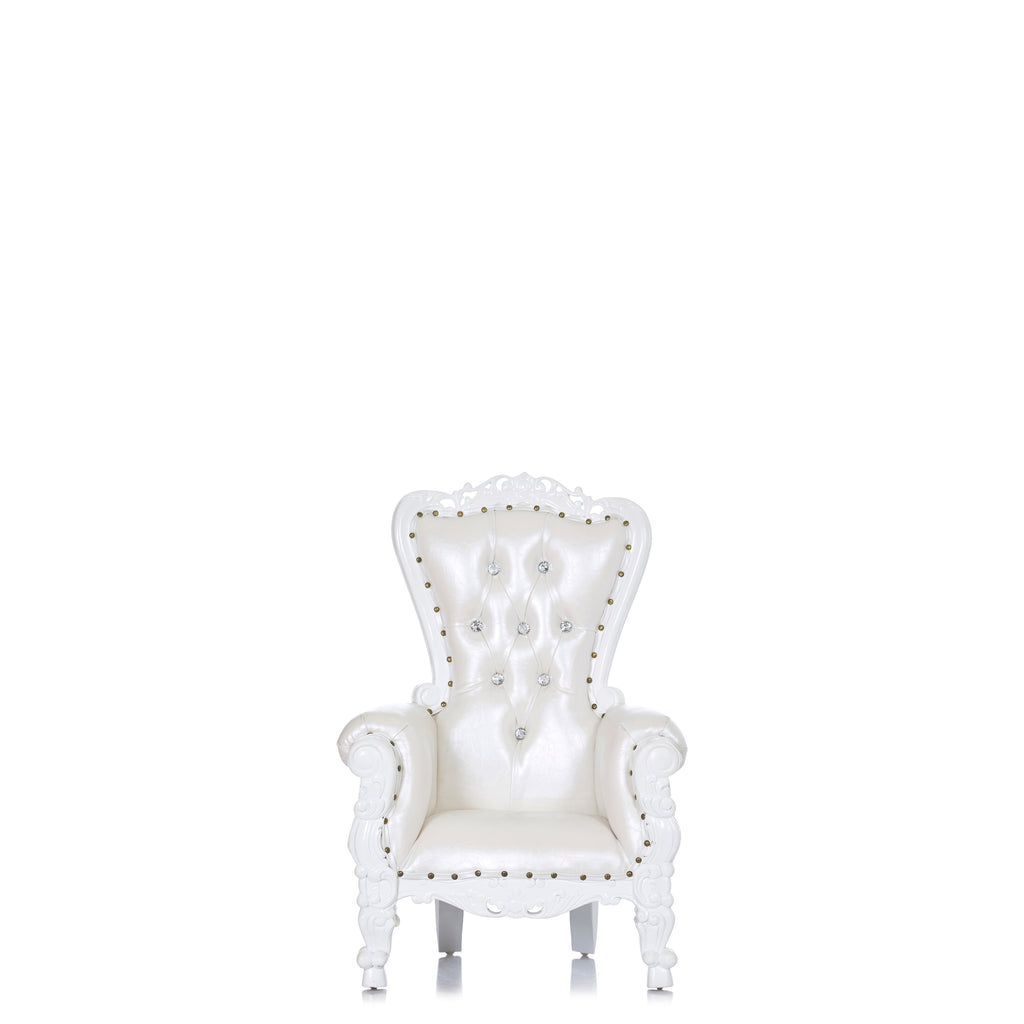 """Mini Tiffany"" Kids Throne Chair - White / White"