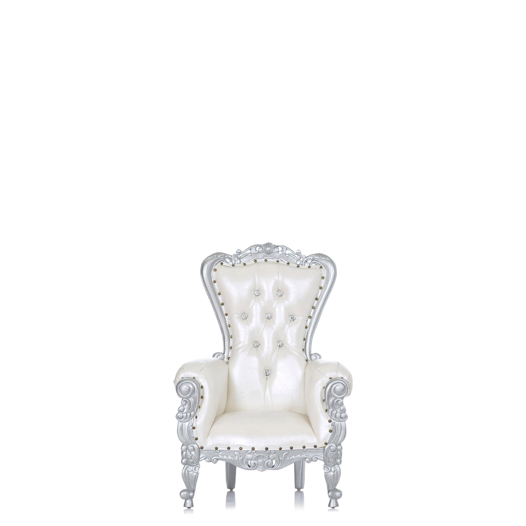 """Mini Tiffany"" Kids Throne Chair - White / Silver"