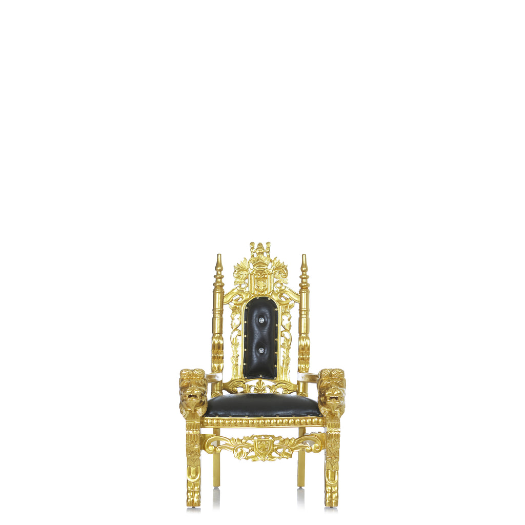 """Mini King David"" Lion Throne Chair - Black / Gold"