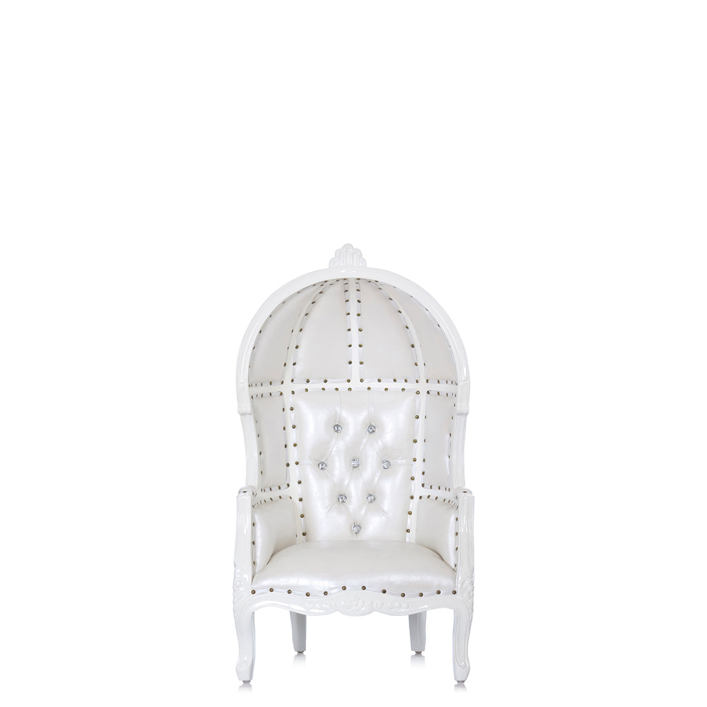 """Mini Hooded Canopy"" Kids Throne Chair - White / White"