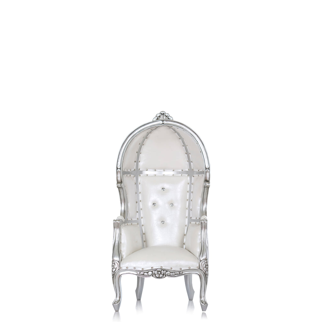 """Mini Hooded Canopy"" Kids Throne Chair - White / Silver"