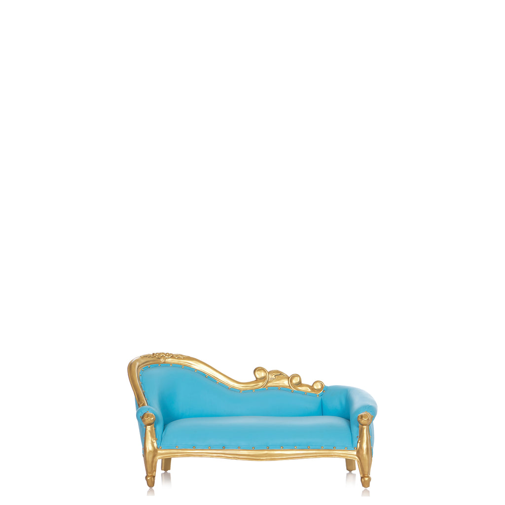 """Luxor"" Mini Chaise Lounge For Kids Only - Turquoise / Gold"