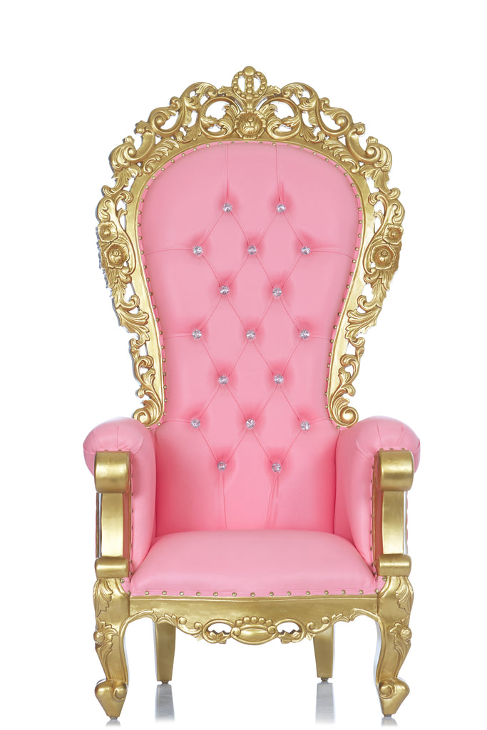 """Queen Frances"" Throne Chair - Pink / Gold"