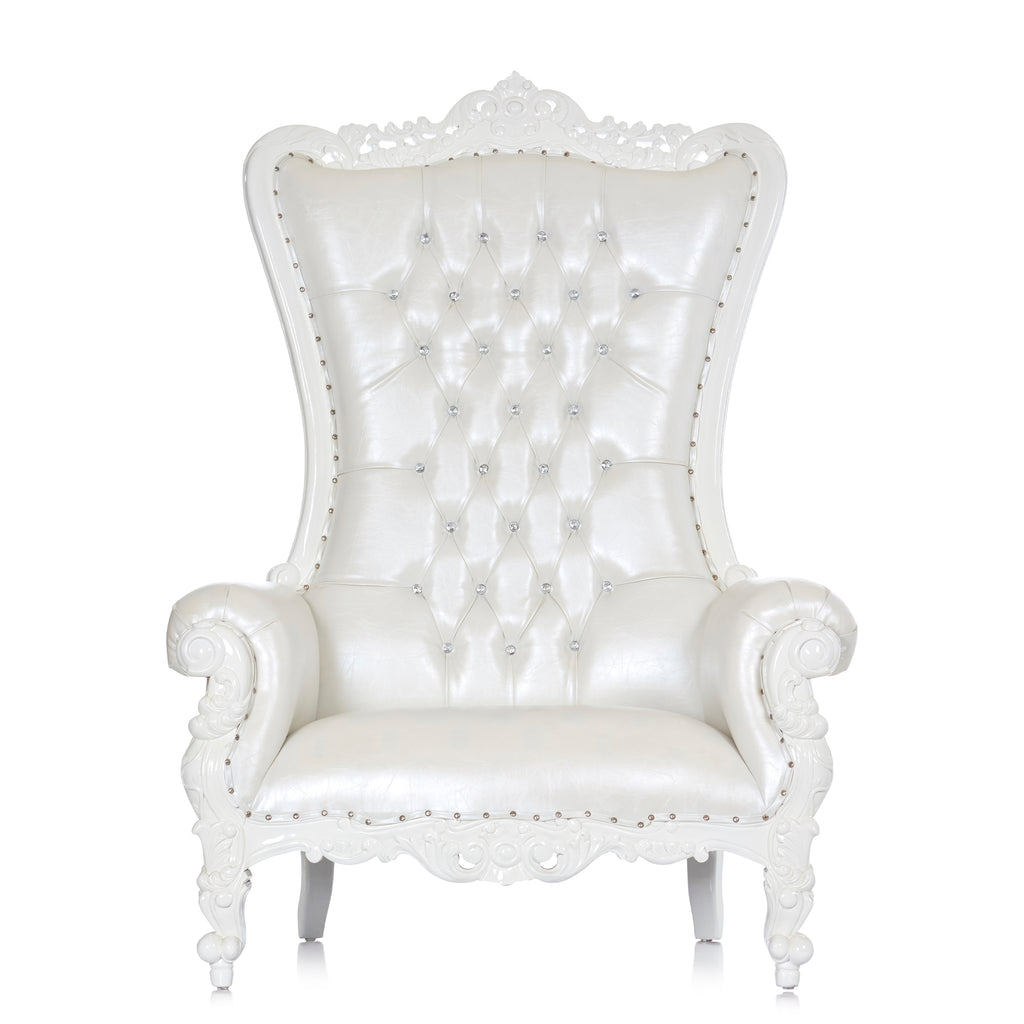 """Queen Tiffany"" Extra Wide Throne Chair - White / White"