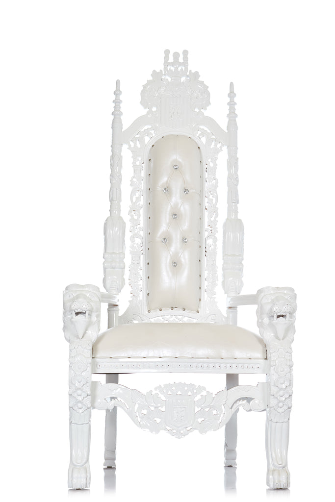 """King David"" Lion Throne Chair - White / White"