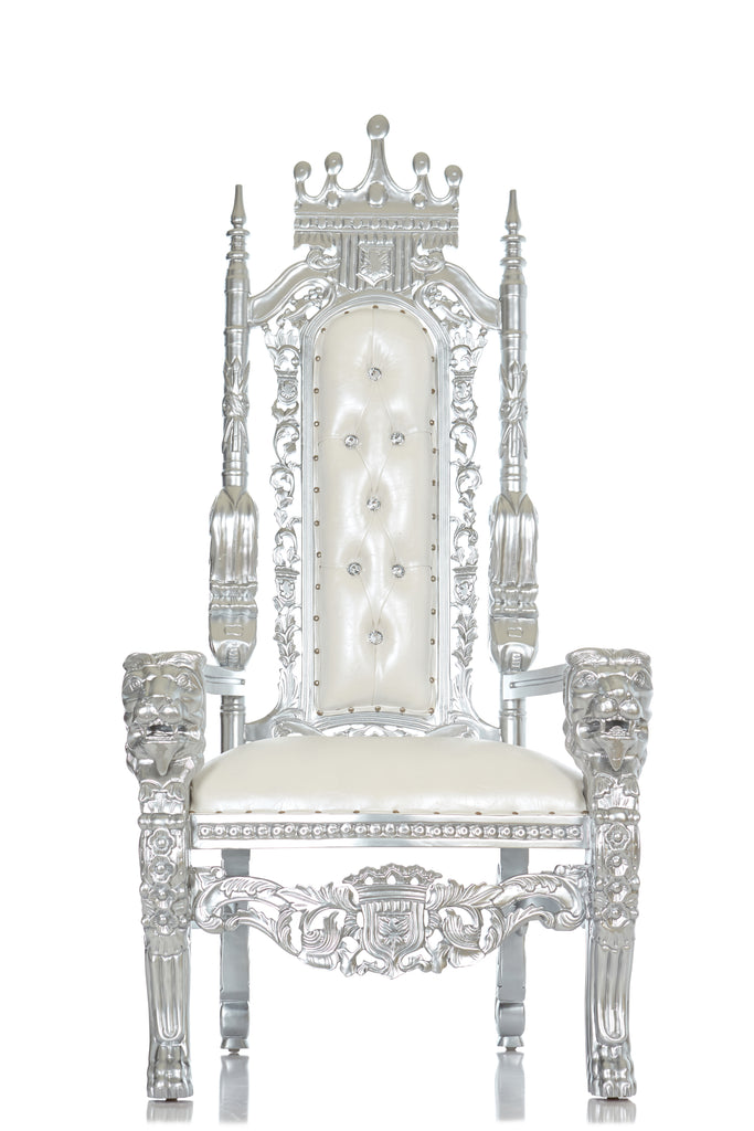 """King David"" Crown Head Throne - White / Silver"