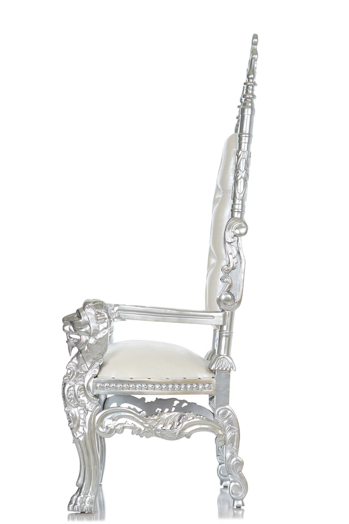 """King David"" King Crown Head Throne - White / Silver"